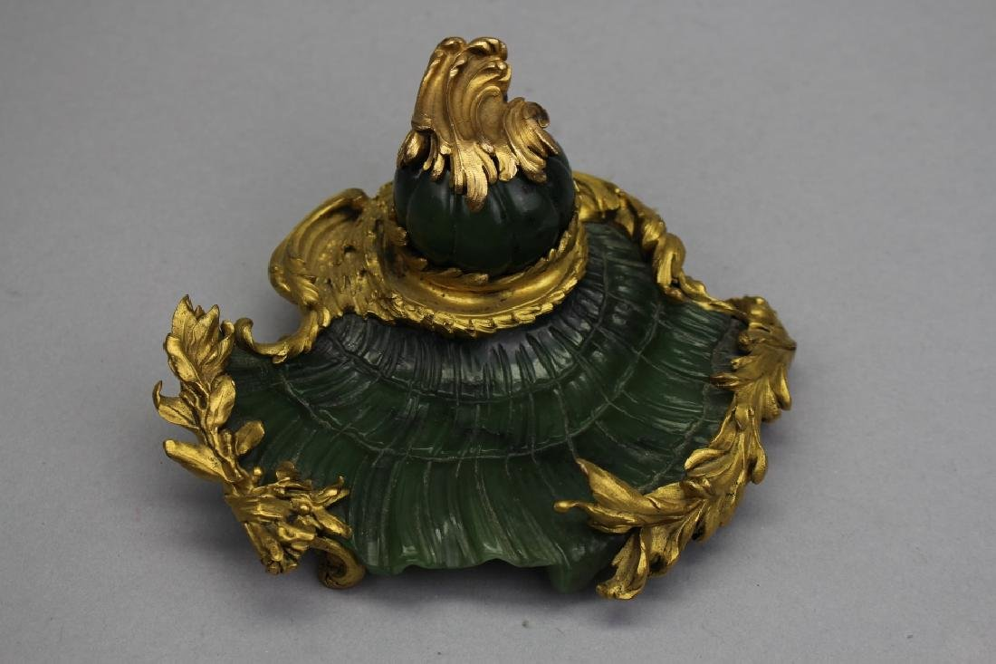 Exceptional Antique French Jade Inkwell w Bronze Mounts