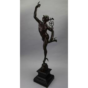 Signed F. Barbedienne French Bronze Mercury