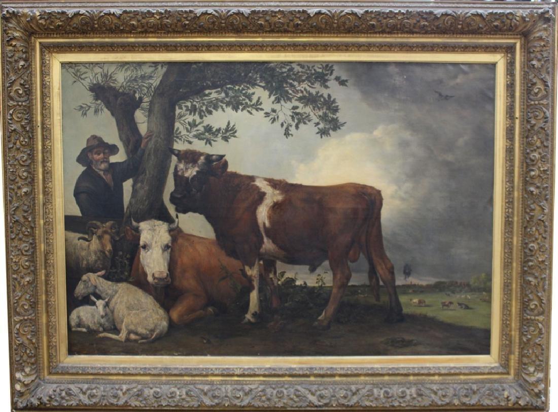 Monumental Pastoral Painting After Paulus Potter