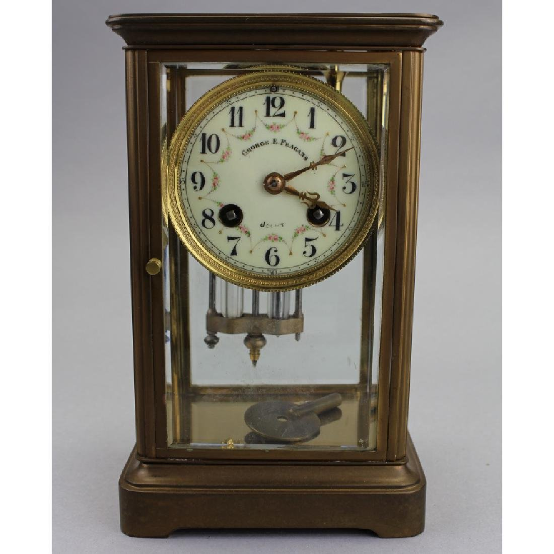 George F Feagans Bronze Clock, Crystal Regulator