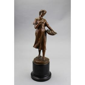 19th C. French Bronze Woman w/ Fruit Sculpture