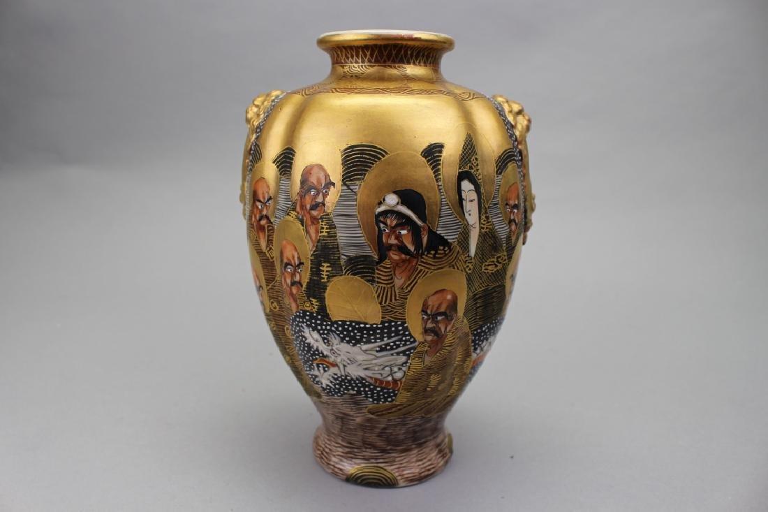 """Japanese Satsuma """"Thousand Faces"""" Vase, Signed"""