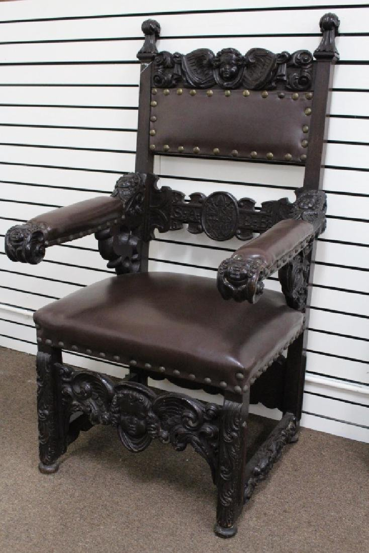 Large, Figural Antique Carved Oak Throne Chair