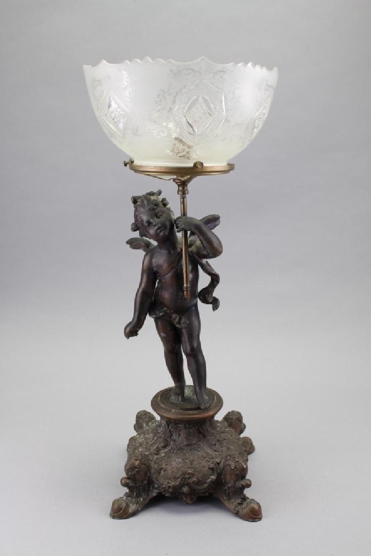 Cherub Holding Torch w/ Etched Glass Bowl