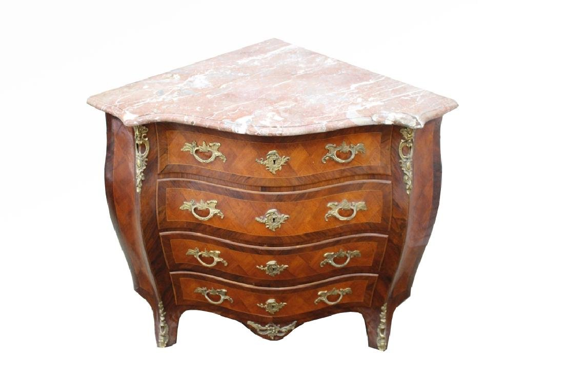 Antique French Inlaid Marble Top Corner Cabinet