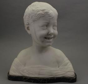 Antique Marble Bust of Smiling Boy