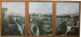 Set of 3 Palatial Italian City Scenes, Signed
