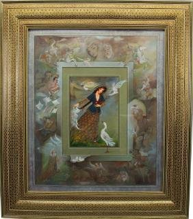 Signed Figural Persian Watercolor/Goauche Painting