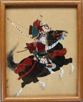 Signed Japanese Watercolor/Gouache of Warrior