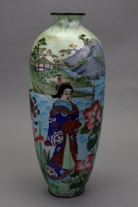20th C. Japanese Enameled/Bronze Vase
