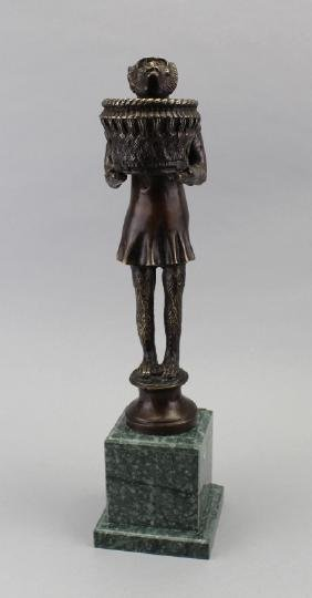 Bronze Monkey w/ Basket Sculpture on Marble Base