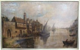 Large 19th C. Dutch School Painting, Signed