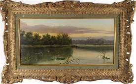 19th C. English Landscape, Pond with Fishermen