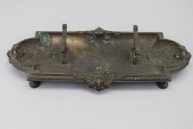 Antique Figural European Bronze Inkwell