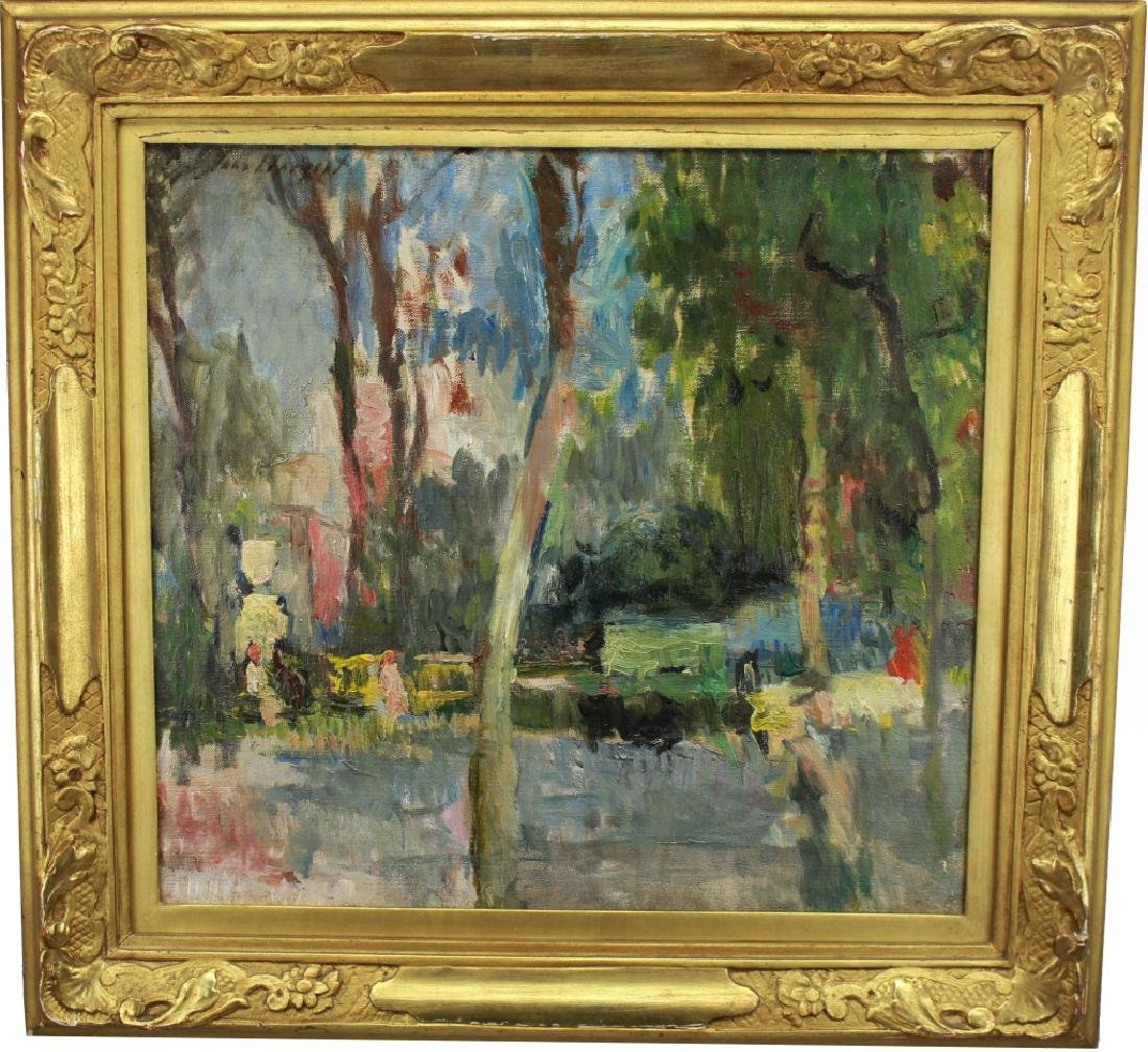 "American School, Signed Sargent ""Trees in Garden"""