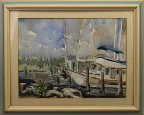 20th C. American Harbor Scene Signed 'Neagle'
