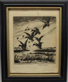 Norman Drysdale, Signed Etching of Geese