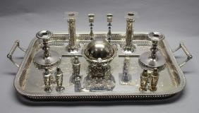 (12) Assorted Silver Plate Items w/ Tray