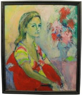 G. Kovach, Signed 20th C Portrait of a Young Woman
