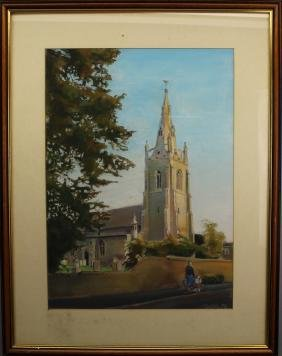 Muller '86, Signed Pastel of Cathedral