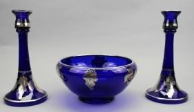 (3) Pieces, Cobalt Glass/Silver Overlay
