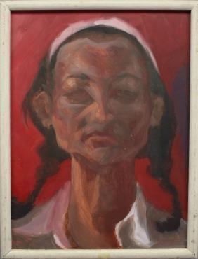 20th C. Portrait of a Woman, Oil/Board