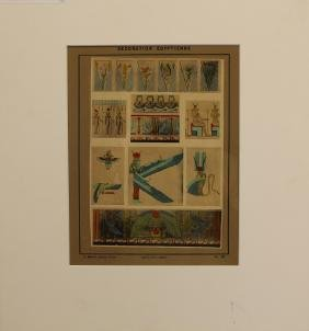 (10) Antique Egyptienne Designs, Hand Colored Prin