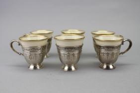 (6) Lenox Sterling Demitasse Cup & Saucers