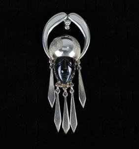 Mexican Sterling & Onyx Signed Pendant