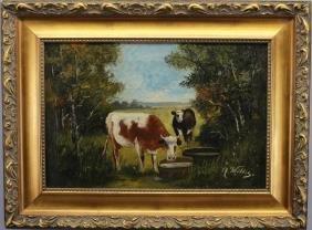 "Signed 19th C. Pastoral Scene W/ Cows, ""...Willis"""