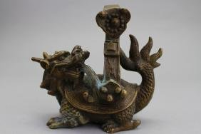 Antique Chinese Bronze Dragon/Turtle Hook