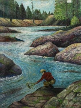 William R. Jones, 20th C. Fishing Scene