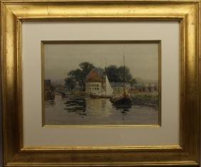 Framed Frank Thompson Print of Dutch Harbor Scene