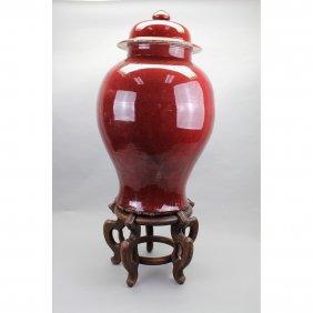 Large Chinese Style Glazed Terracotta Covered Urn