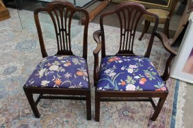 Ten (10) Antique Sheraton Style Dining Chairs