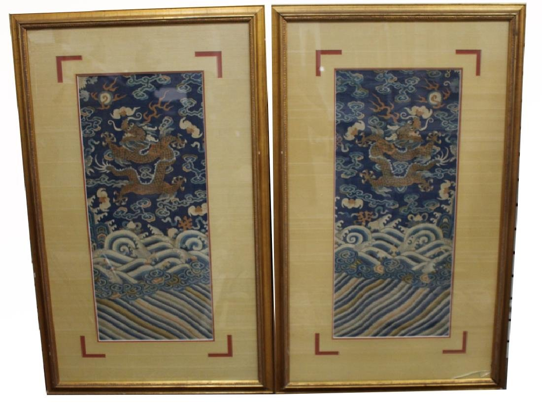 Pair of Imperial 5-Claw Dragon Embroidery Panels