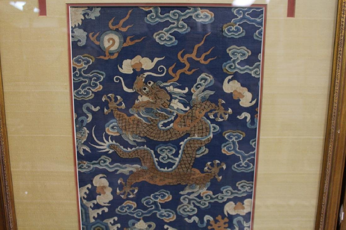 Pair of Imperial 5-Claw Dragon Embroidery Panels - 5
