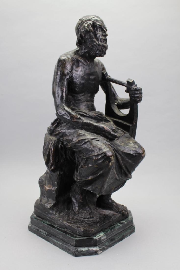 Large Antique Bronze, David w/ Harp