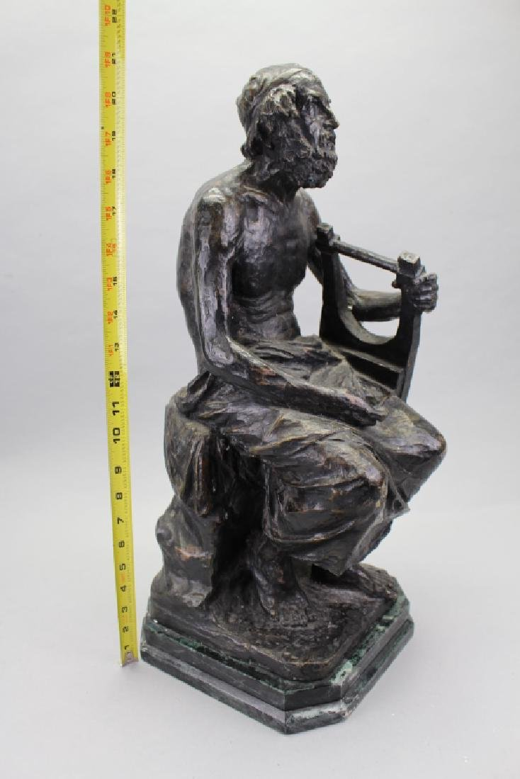 Large Antique Bronze, David w/ Harp - 2