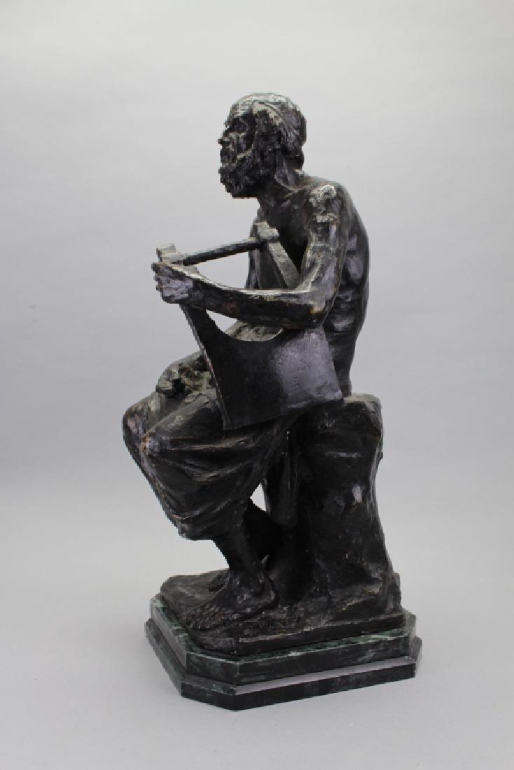 Large Antique Bronze, David w/ Harp - 4