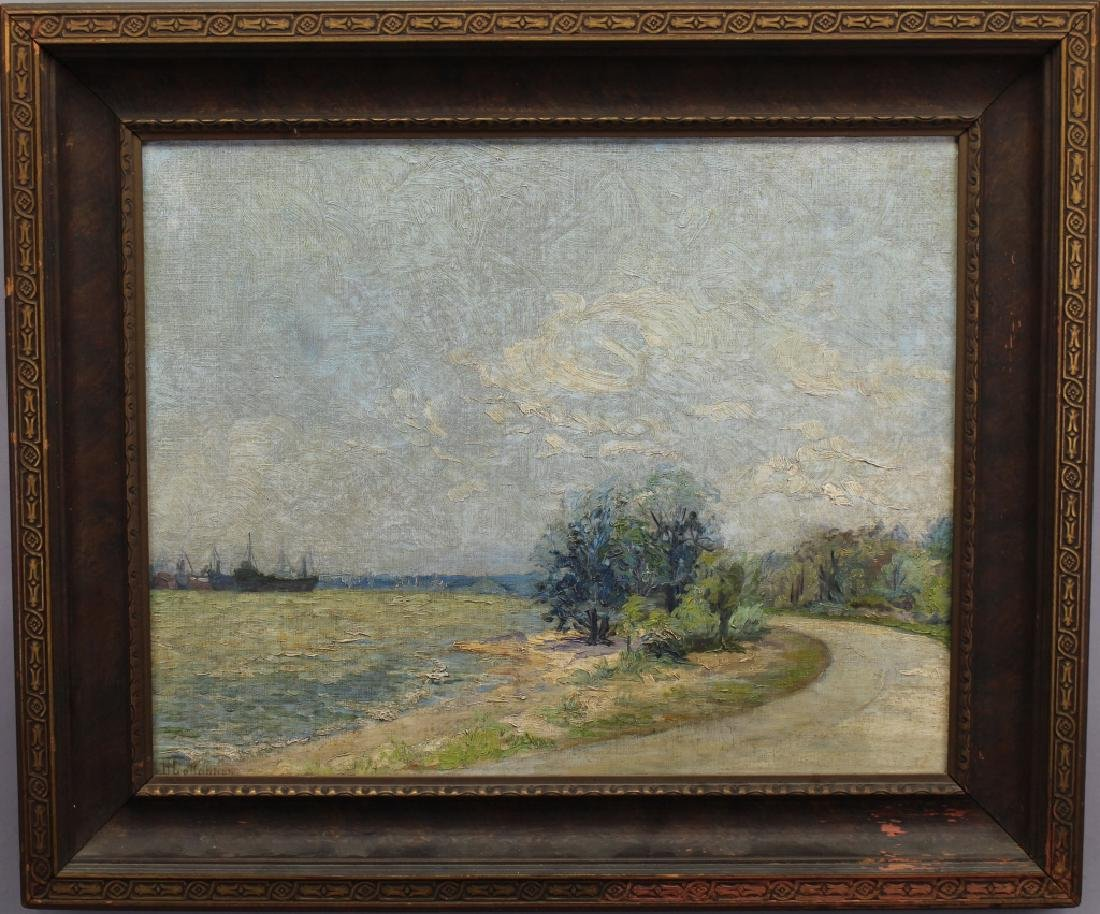 "American School, ""Erie Peninsula"" Signed Painting"