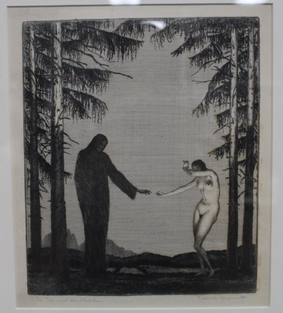 Signed Lithograph, Grim Reaper and Nude Woman
