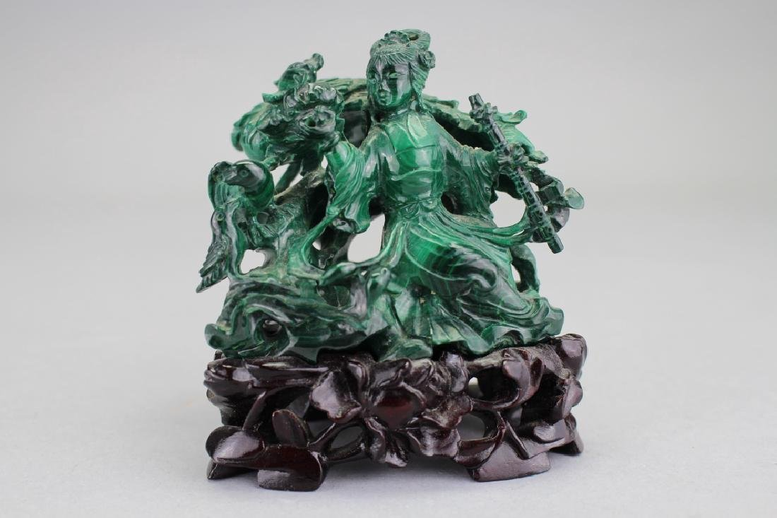 Chinese Carved Malachite Figure on Stand