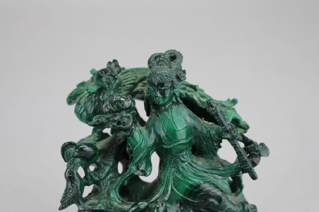 Chinese Carved Malachite Figure on Stand - 2