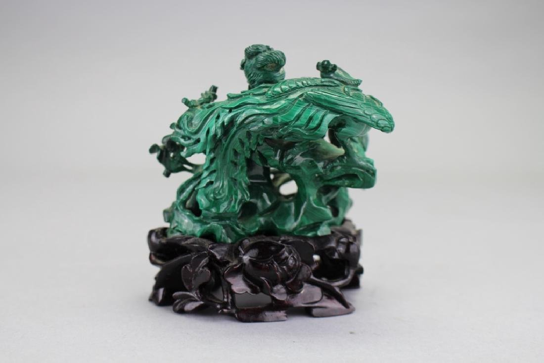 Chinese Carved Malachite Figure on Stand - 3
