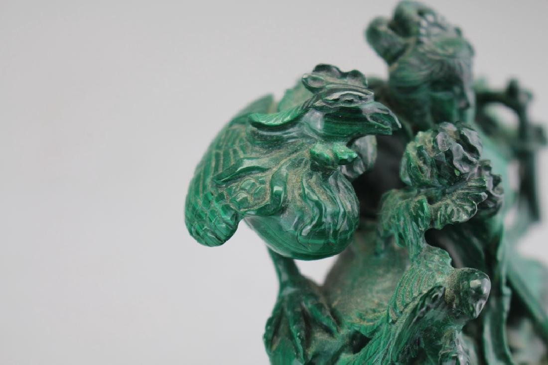 Chinese Carved Malachite Figure on Stand - 5