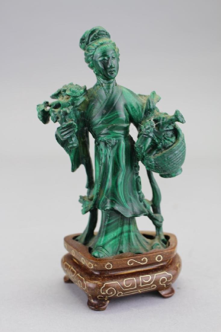 Chinese Carved Maiden Figure on Stand, Malachite