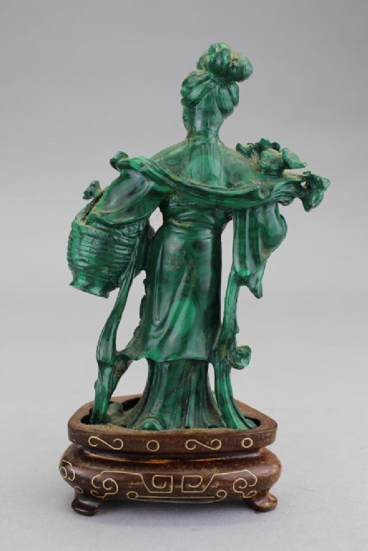 Chinese Carved Maiden Figure on Stand, Malachite - 2