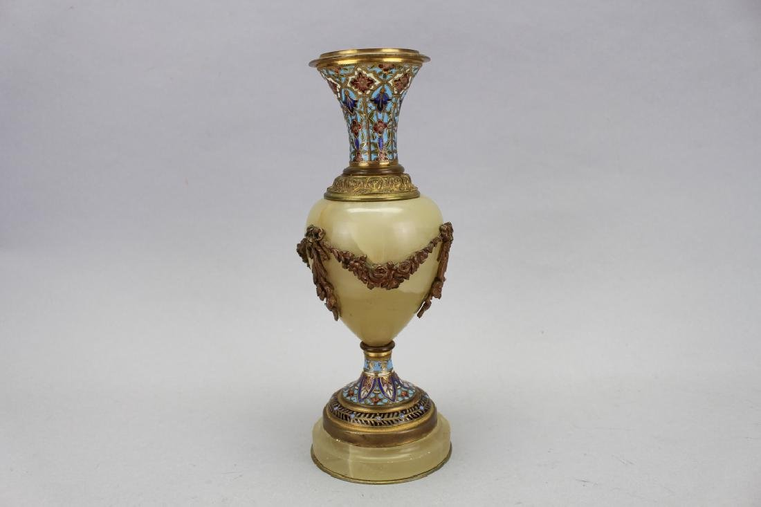 Antique French Champleve/Onyx Vase
