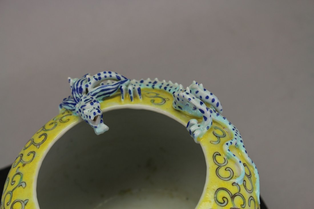 Antique Chinese Qianlong Style Famille Dragon Bowl - 2